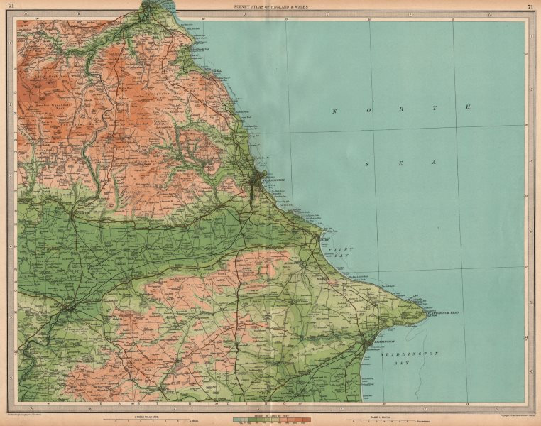Associate Product YORKSHIRE COAST Scarborough Whitby Filey Bridlington Pickering. LARGE 1939 map