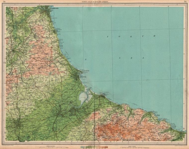 Associate Product NE ENGLAND COAST Teeside Middlesbrough Sunderland Darlington Whitby 1939 map