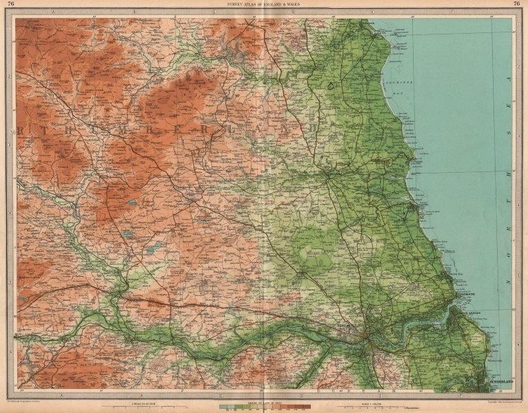 Associate Product NORTHUMBERLAND Newcastle-upon-Tyne Morpeth Sunderland Hexham. LARGE 1939 map
