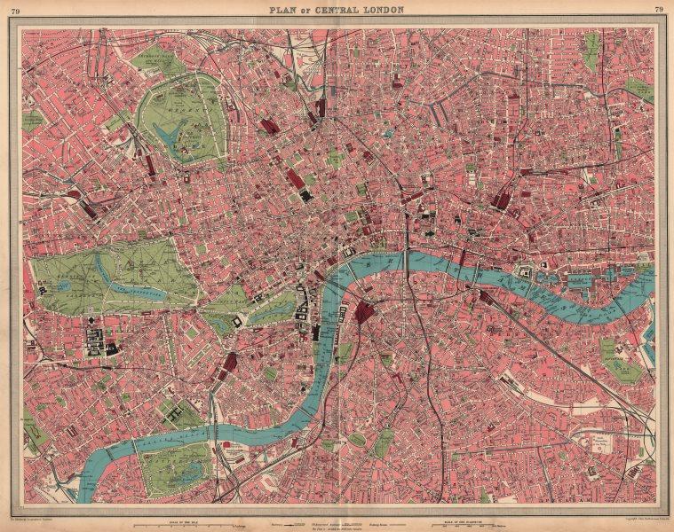 Associate Product CENTRAL LONDON. LARGE detailed plan Railways tube public buildings 1939 map