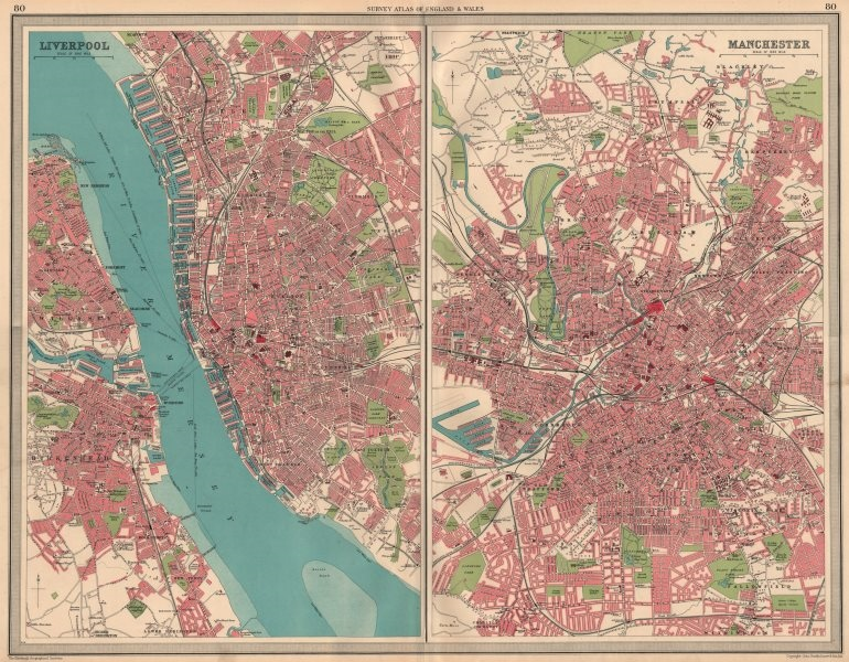 NW ENGLISH CITIES Plans of Liverpool & Manchester Birkenhead. LARGE 1939 map