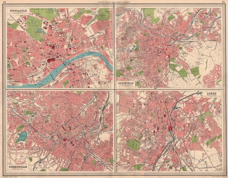 Associate Product ENGLISH CITIES Plans of Newcastle Sheffield Birmingham & Leeds. LARGE 1939 map