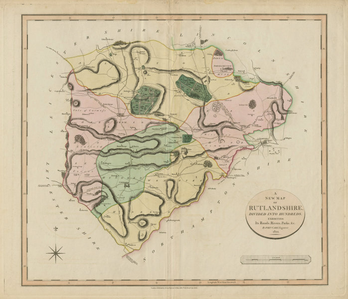 Associate Product 'A New Map of Rutlandshire', by John Cary. Oakham Uppingham. County map 1801