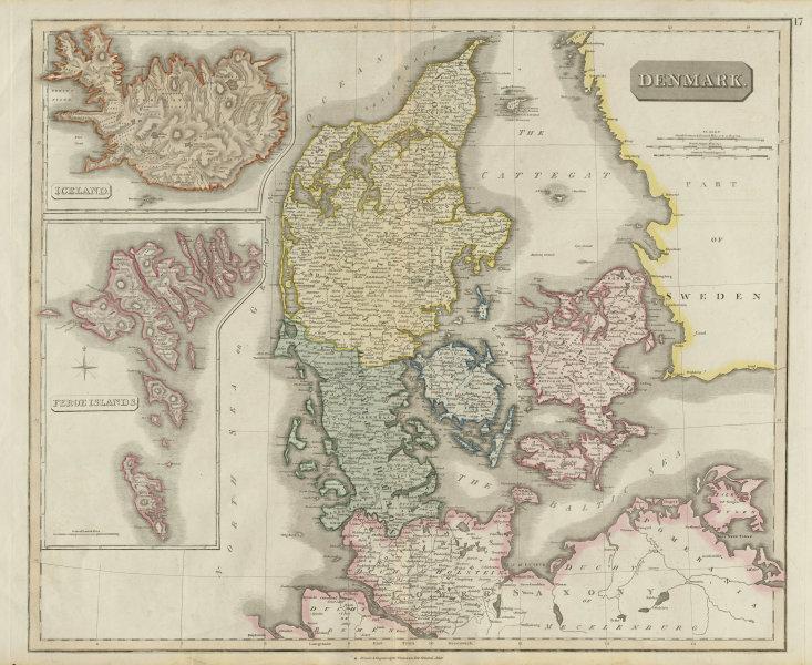 Associate Product Denmark, Iceland & the Feroe (Faroe) islands by John Thomson 1817 old map