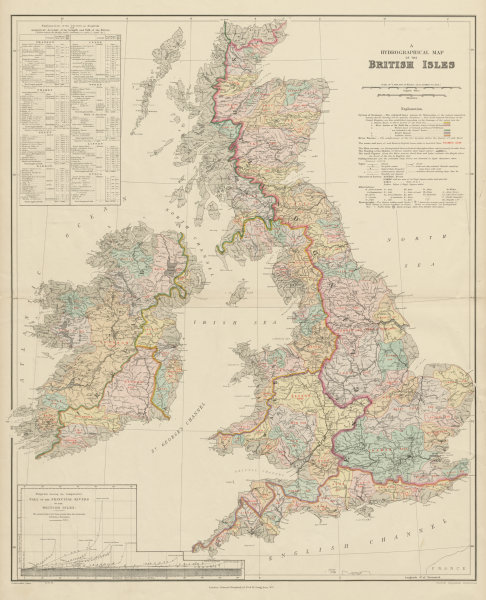 Associate Product British Isles hydrographical. Watersheds River drainage basins STANFORD 1904 map
