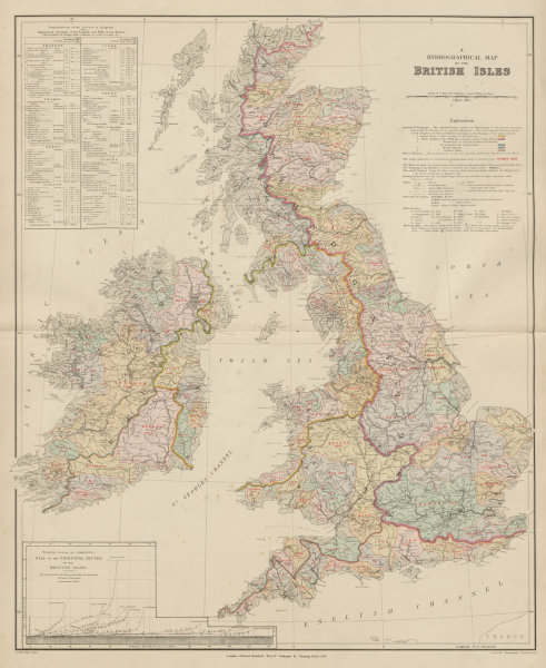 Associate Product British Isles hydrographical. Watersheds River drainage basins STANFORD 1894 map