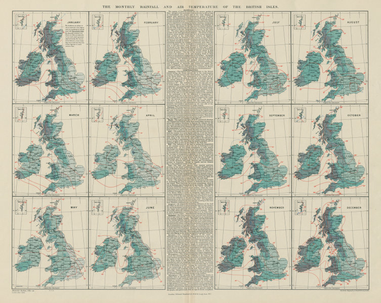 Associate Product British Isles. Monthly rainfall & air temperature. 61x55cm. STANFORD 1904 map