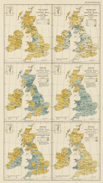 Associate Product British Isles population death rate diseases contagious TB. STANFORD 1887 map