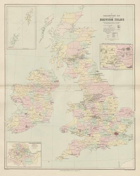 Associate Product British Isles Parliamentary constituencies. Large 64x51cm. STANFORD 1904 map