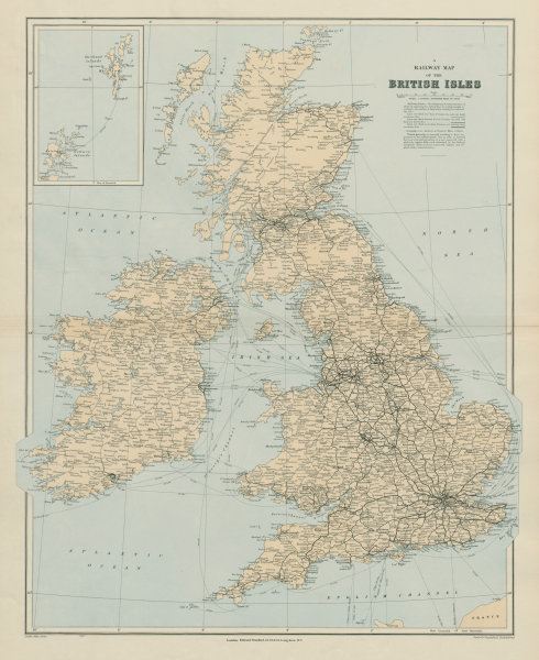 Associate Product Railway map of the British Isles. England Ireland Scotland Wales. STANFORD 1904