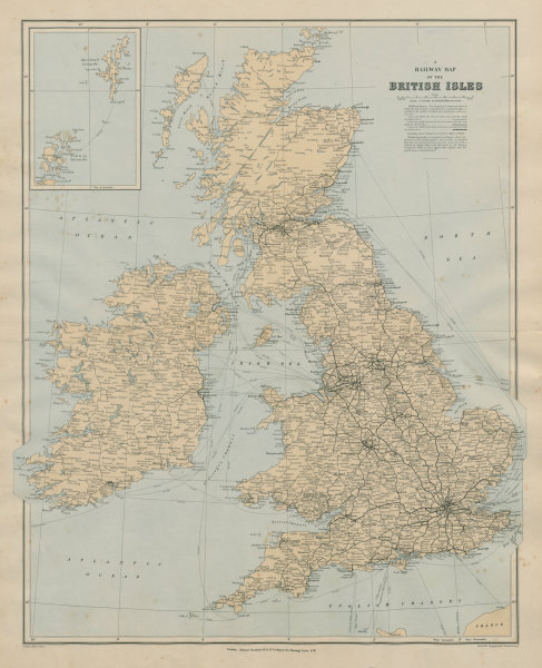 Details about Railway map of the British Isles. England Ireland Scotland  Wales. STANFORD 1894