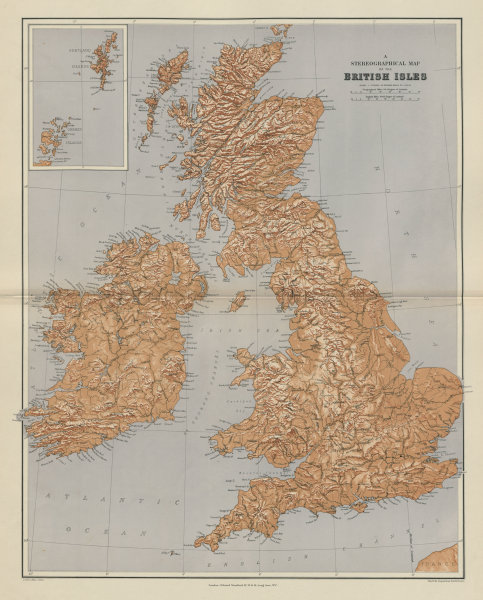 Associate Product British Isles Stereographical. Mountains rivers. Large 65x52cm STANFORD 1904 map