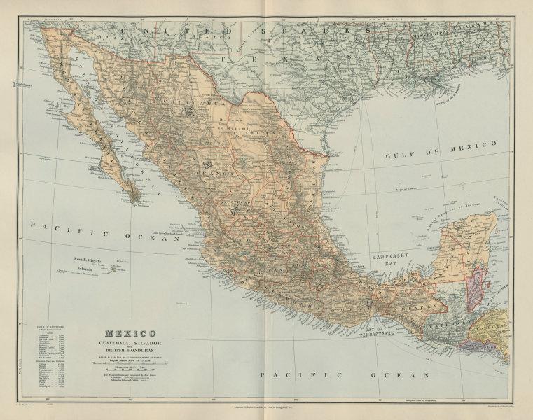 Mexico Guatemala El Salvador Belizes. Revillagigedo Socorro. STANFORD 1904 map