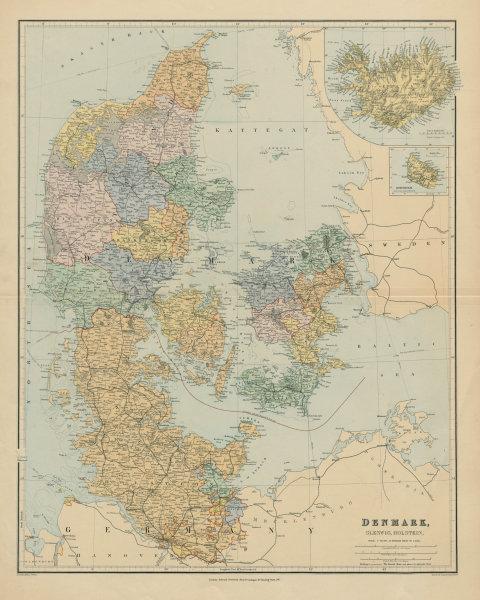 Associate Product Denmark, Schleswig & Holstein. Iceland Bornholm. Large 66x52cm STANFORD 1894 map