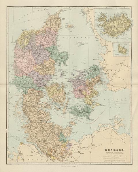 Associate Product Denmark, Schleswig & Holstein. Iceland Bornholm. Large 66x52cm STANFORD 1904 map