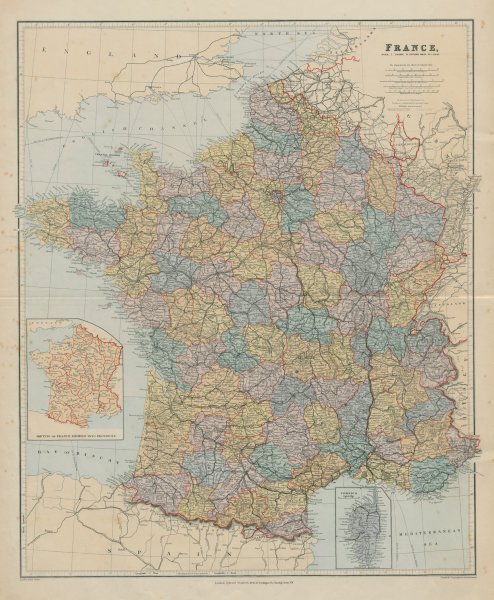 Associate Product France in departements without Alsace Lorraine. Large 65x54cm. STANFORD 1894 map