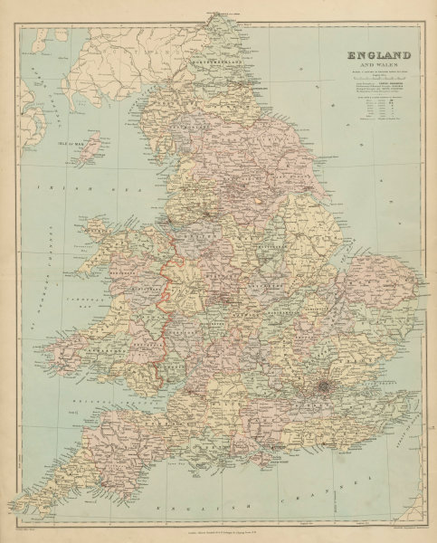 Associate Product England and Wales in counties. Large 68x55cm. STANFORD 1894 old antique map
