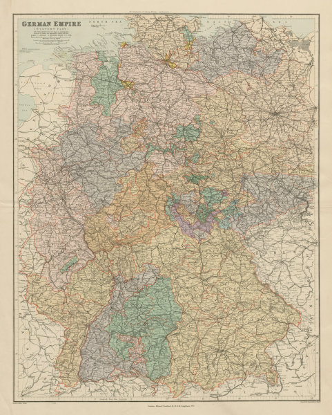 Associate Product German Empire western part. Germany. Large 65x52cm. STANFORD 1904 old map