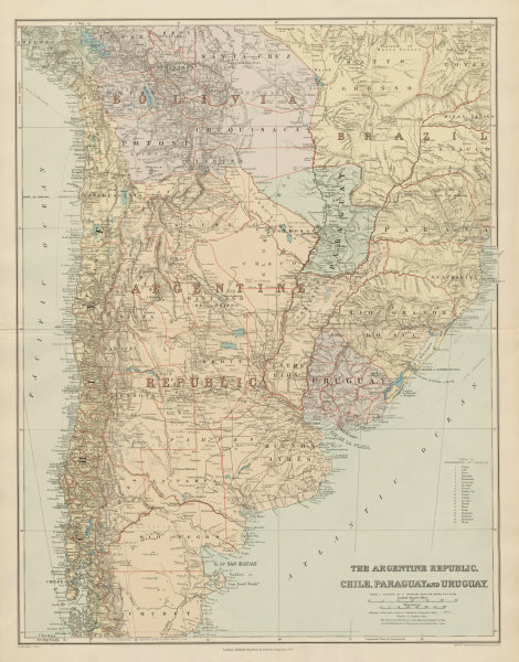 Associate Product Argentine Republic, Chile, Paraguay & Uruguay. South America. STANFORD 1904 map