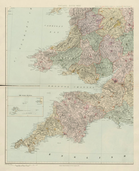 Associate Product South-west England & South Wales. Large 62x51cm. STANFORD 1904 old antique map