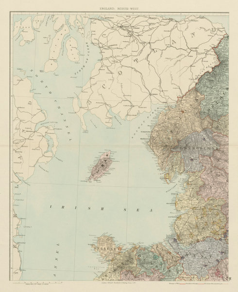 Associate Product North west England & North Wales. Isle of Man. Large 62x50cm. STANFORD 1887 map