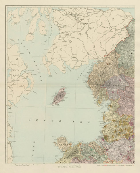 Associate Product North west England & North Wales. Isle of Man. Large 62x50cm. STANFORD 1904 map