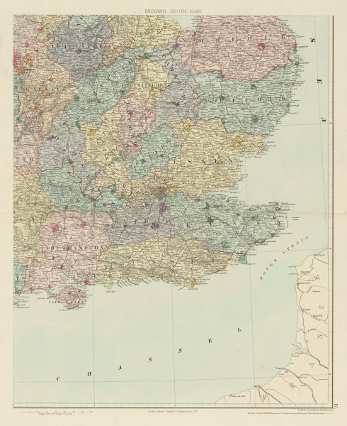 Associate Product South east England. Counties & boroughs. Large 62x50cm. STANFORD 1887 old map