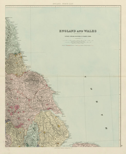 Associate Product North east England. Tyneside Yorkshire Lincolnshire. 62x51cm STANFORD 1887 map