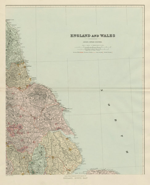 Associate Product North east England. Tyneside Yorkshire Lincolnshire. 62x51cm STANFORD 1904 map