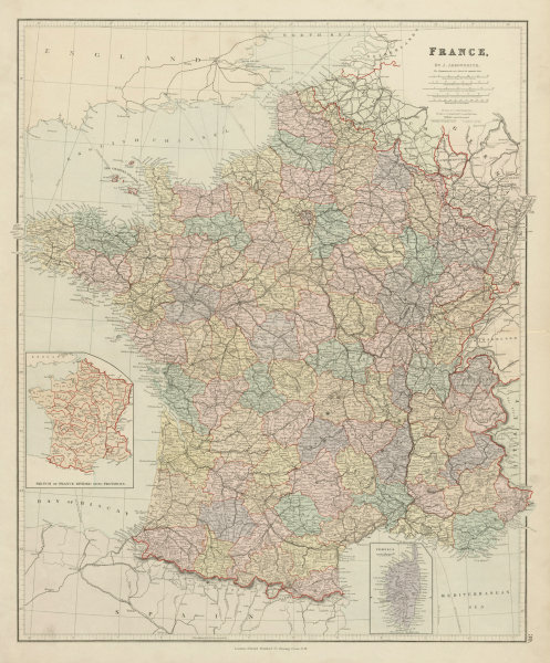 Associate Product France in departements without Alsace Lorraine. Large 65x54cm. STANFORD 1887 map
