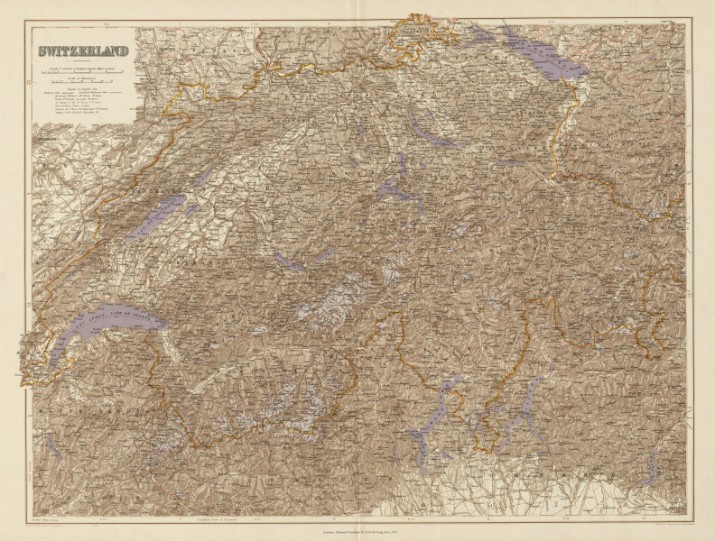 Associate Product Switzerland & the Alps. Haute Savoie. Italian Lakes. Glaciers. STANFORD 1904 map