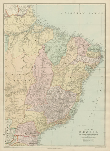 Associate Product Brazil - eastern part. States. Large. 74x54cm. STANFORD 1904 old antique map