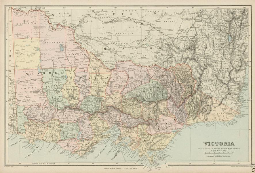 Associate Product Victoria, Australia. Explorers routes. Landscape observations. STANFORD 1904 map