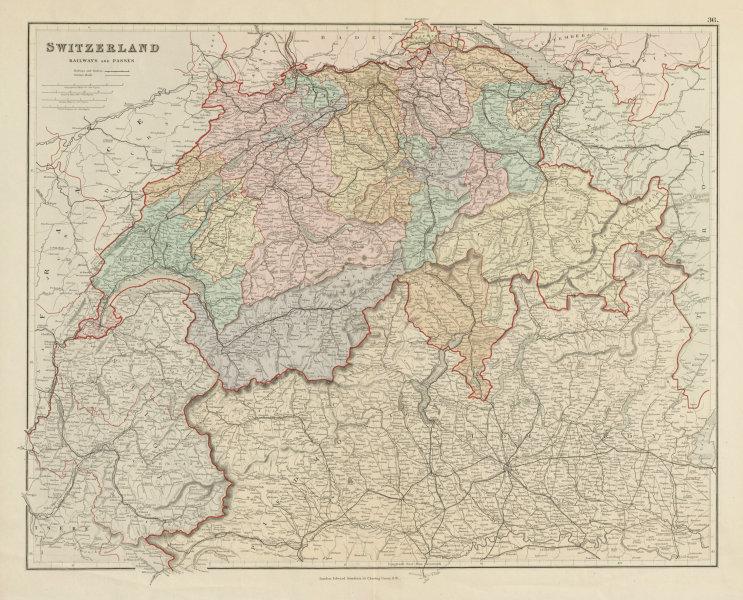 Associate Product Switzerland & the Alps. Railways passes. Savoie. Italian Lakes STANFORD 1887 map