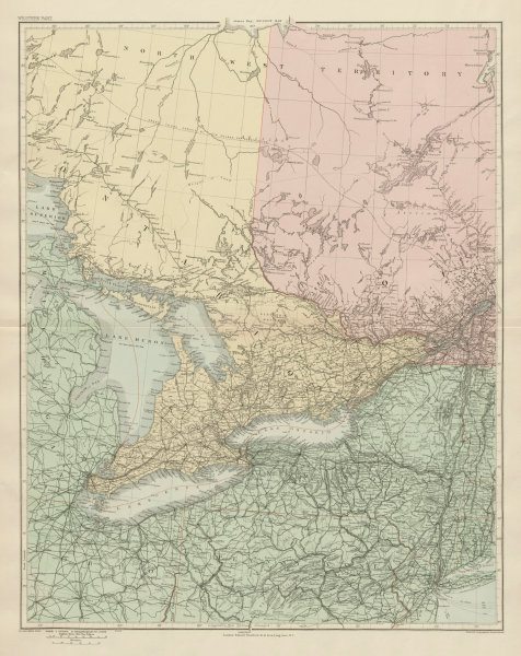 Associate Product Southern Ontario. Lake Huron Erie. New York state. Great Lakes STANFORD 1904 map