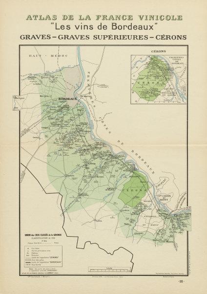 Associate Product BORDEAUX VINS WINE MAP. Graves - Graves Supérieures - Cérons. LARMAT 1941