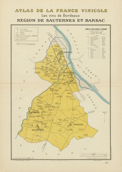 Associate Product BORDEAUX VINS WINE MAP. Région de Sauternes et Barsac. LARMAT 1941 old