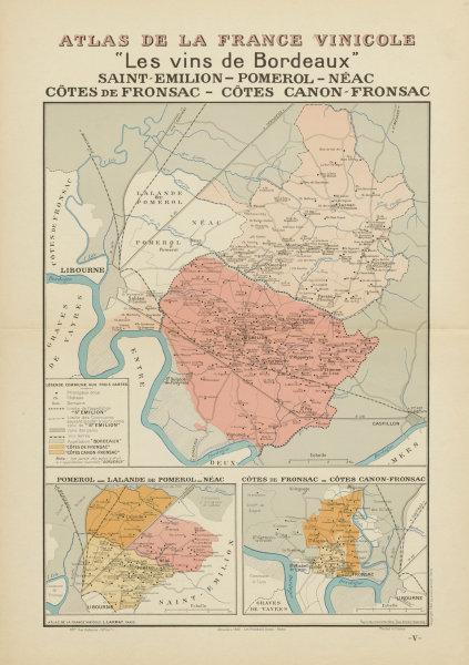 Associate Product BORDEAUX VINS WINE MAP. St Emilion Pomerol Néac Côtes Canon-Fronsac.LARMAT 1941