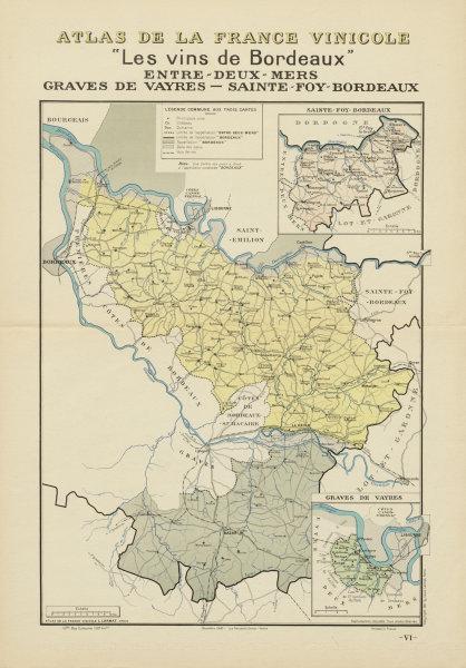 Associate Product BORDEAUX VINS WINE MAP. Entre-Deux-Mers Graves de Vayres Sainte-Foy. LARMAT 1941