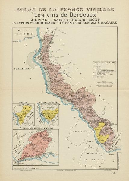 Associate Product BORDEAUX VINS WINE MAP Loupiac Ste-Croix-Mont 1ères Côtes St Macaire LARMAT 1941