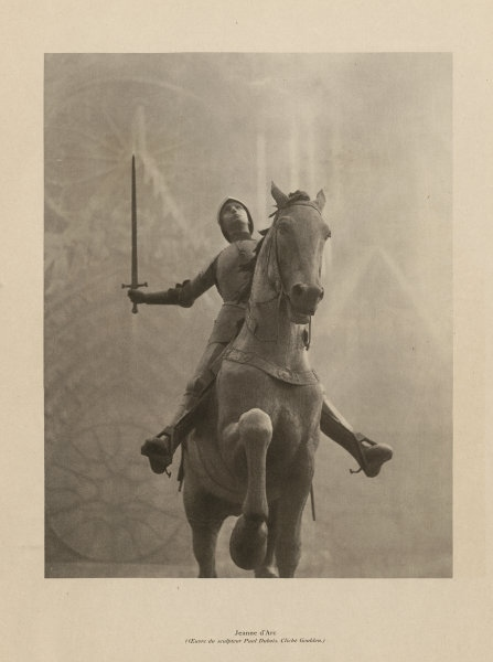 Associate Product Jeanne d'Arc. Equestrian statue of Joan of Arc, Reims, by Dubois 1944 print