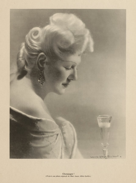 Associate Product Champagne! Drinking Champagne from a flute. Laure Albin-Guillot 1944 old print