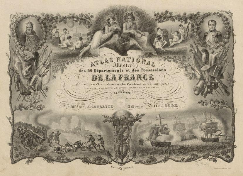 Associate Product Atlas Nationale illustré title page. Victor LEVASSEUR 1852 old antique print