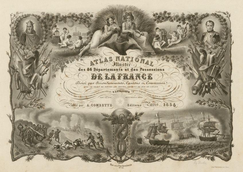 Associate Product Atlas Nationale illustré title page. Victor LEVASSEUR 1854 old antique print