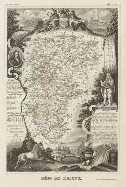 Associate Product Département de l'AISNE. Decorative antique map/carte by Victor LEVASSEUR c1854