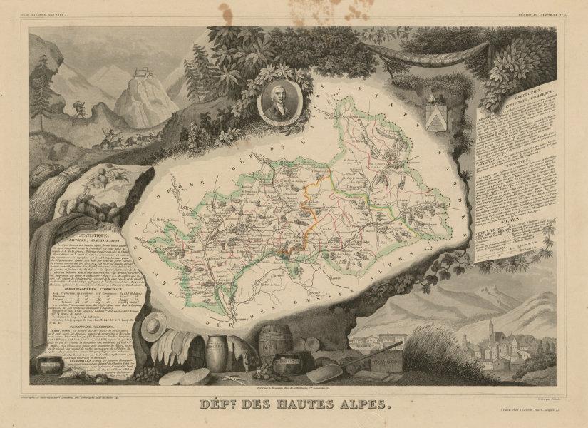 Département des HAUTES-ALPES. Decorative antique map/carte. LEVASSEUR c1854