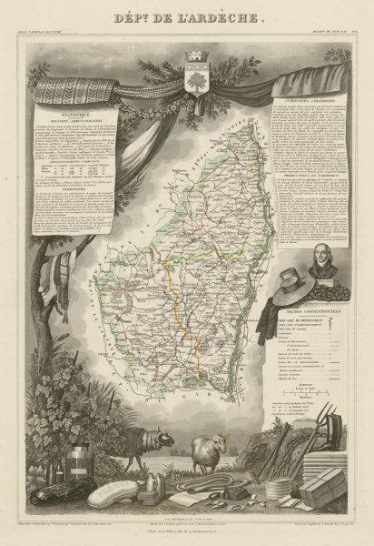 Associate Product Département de l'ARDÈCHE. Decorative antique map/carte by Victor LEVASSEUR c1854