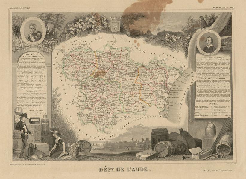 Associate Product Département de l'AUDE. Decorative antique map/carte by Victor LEVASSEUR c1854