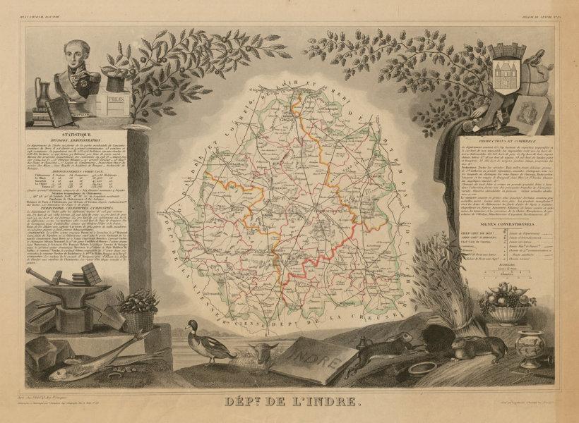 Associate Product Département de l'INDRE. Decorative antique map/carte by Victor LEVASSEUR c1854