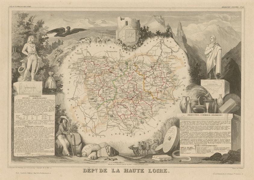 Associate Product Département de la HAUTE-LOIRE. Decorative antique map/carte. LEVASSEUR c1854